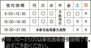 受付時間:月・火・金:9:00~12:30、15:00~19:30、水:9:00~12:30、日・祝休み、木曜予約受付、19:30~21:00は交通事故施術優先受付